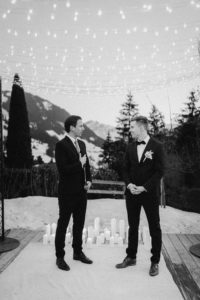 Julien and Sylvain waiting for the bride